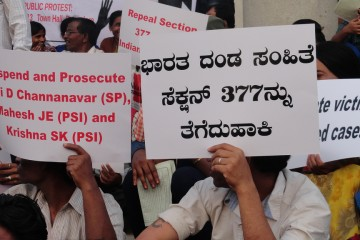 Protest in Bangalore against Arrests in Hassan