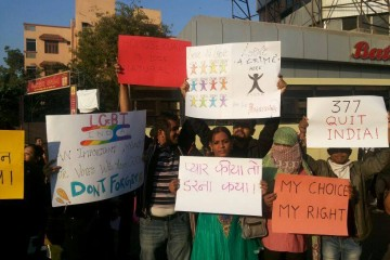 LGBT community in Gujarat holding a aprotest during Global Day of Rage
