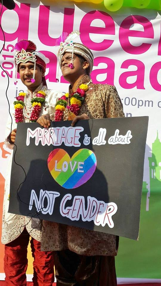 A Newly married gay couple in Mumbai's Pride