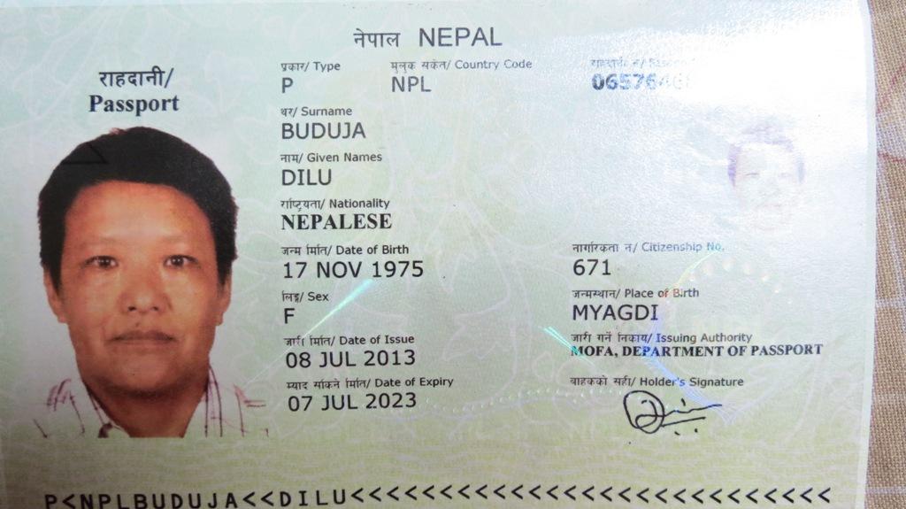 Badri's passport that reads F (gender)