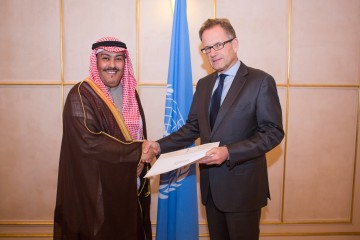 Presentation of credentials: H.E. Mr. Faisal bin Hassan Trad, the Kingdom of Saudi Arabia(left), presents his credentials to Mr. Michael Møller(right), the Acting Director-General of the United Nations Office at Geneva. January 7th, 2014. Photo by Pierre Albouy