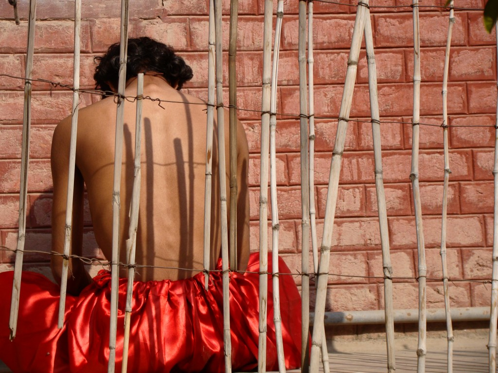 Laal Shalwar an art  project on masculinity (Photo Credit: Imran Nafees Siddiqui )
